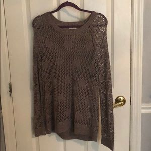 Madewell taupe grey knit polkadot sweater metallic